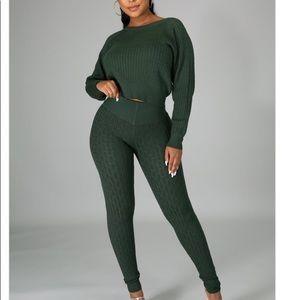 Olive green knit set